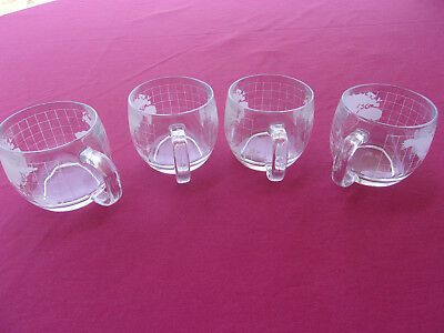 Set of Four (4) Etched World Globe, Atlas Weighted Coffee/Chocolate Glass Cups