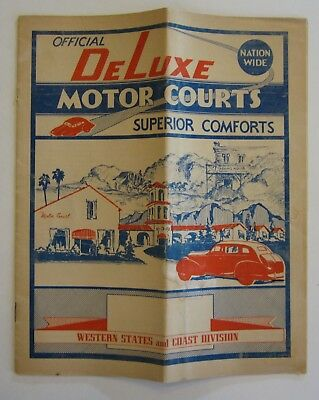 Vtg Highway 99 101 Road Map DeLuxe Motor Courts CA WA NV Motel Photos 1930-40's