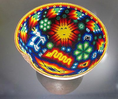 Huichol Beaded Art Prayer Bowl Carved Gourd LG 7.25x4 Our Lady Mexican Folk Art
