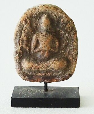 11C-12C Burmese Bagan Seated Buddha Motif Impressed Clay Plaque on Stand (Mil)