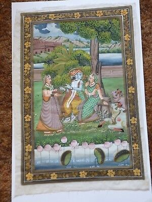 Antique Hand Painted Picture From India, On Cloth, Very Good Condition