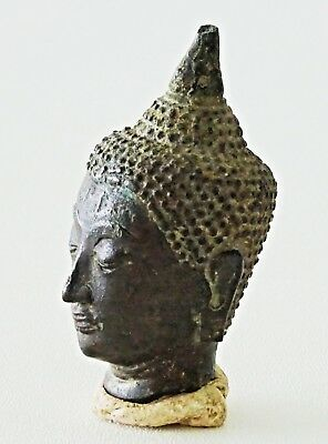 16C Thai Ayutian Bronze Buddha Head Fragment (Mil)