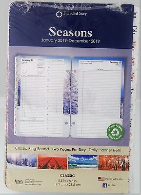 Franklin Covey Seasons 2019 Two Page Per Day Classic Ring-Bound Planner Refill