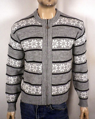 vtg 50s 60s Campus zip up Cowichan Sweater geometric snowflakes rockabilly M
