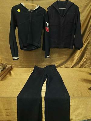 WW II WW2 Era Navy Sea Cadet Uniform with Patches-3 Pc Set - Good condition
