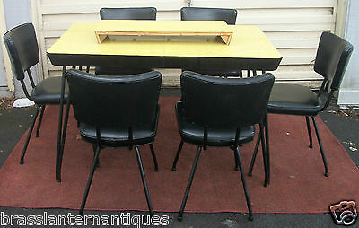 Mid Century Modern Laminate & Black Chrome Dining Table 6 Vinyl & Chrome Chairs