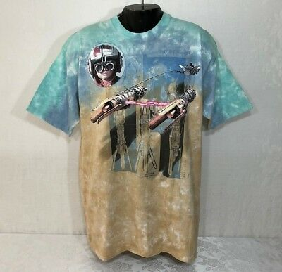 VTG 90's Liquid Blue Tie Dye STAR WARS Anakin Skywalker Podracer T Shirt XL RARE