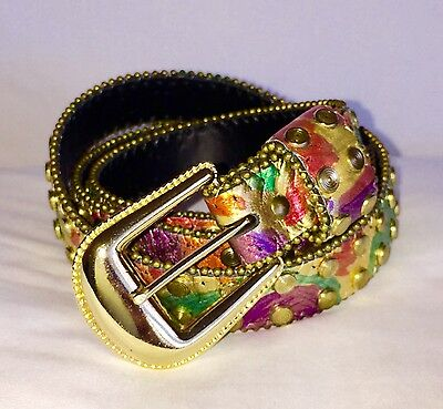 Genuine Leather Gold Metallic Stud Multicolor Women's Belt New With Out Tags