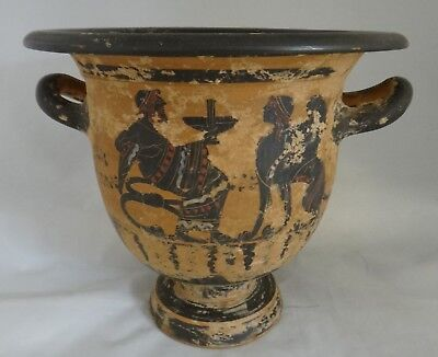 "Antique Greek Pottery Two Handled Vase with finely painted Scenes. 7 ¾"" tall"