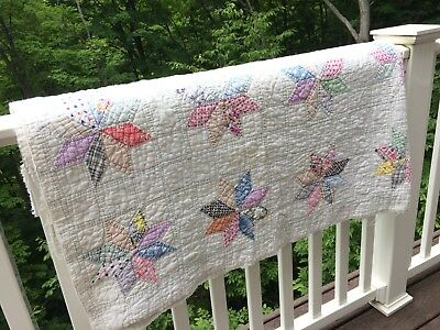 Antique Vintage 1930s Honeycomb Quilt Hand Sewn Farmhouse Handmade Square Prop