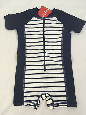 Hanna Andersson Baby Rash Guard Suit Swimmy Navy Stripe Size 80 18-24 NWT