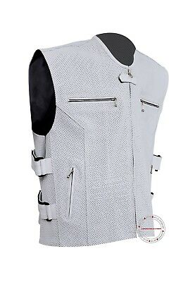 2XL Clearance Men's White Perforated Leather Biker Motorcycle Vest Armor #245WP
