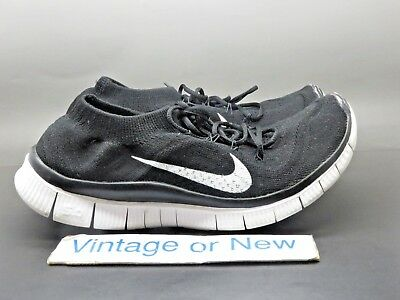 0e304694a3c9 Women s Nike Free Flyknit 5.0 Black White Running Shoes 615806-010 sz 8.5