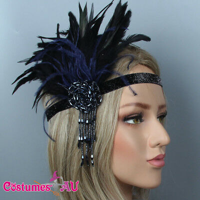 1920s Headband Blue Feather Bridal Great Gatsby 20s Flapper Headpiece Gangster
