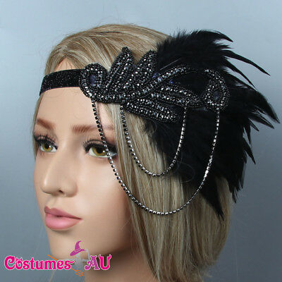 1920s Headband Black Feather Bridal Great Gatsby 20s Flapper Headpiece Gangster
