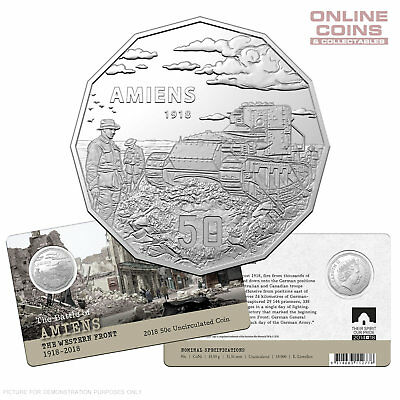 2018 50c UNCIRCULATED COIN - AMIENS -  THE WESTERN FRONT 1918–2018