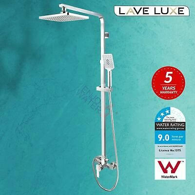 Chrome Square Rain Shower Head Handheld Diverter Set Sliding Rail Mixer Tap WELS