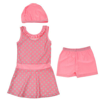 Musulmano Kid Girls Modest Swimsuit Cap Top Pant Arab Beachwear 100cm rosa