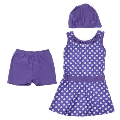 Musulmano Kid Girls Modest Swimsuit Cap Top Pant Arab Beachwear 140cm Viola