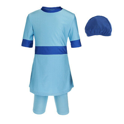 3 / kit Girls Modest Swimsuit Muslin Costume da bagno islamico Burkini blu