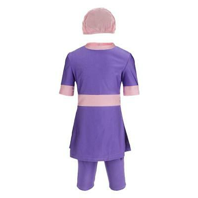 3 / kit Girls Modest Swimsuit Muslin Costume da bagno islamico Burkini viola