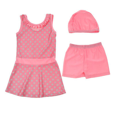 Musulmano Kid Girls Modest Swimsuit Cap Top Pant Arab Beachwear 80cm rosa