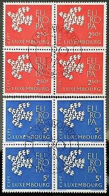 Luxembourg 1961 Sc # 382 to Sc # 383 MNH CTO Blocks of 4 Europa Stamps