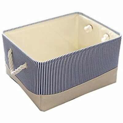 Blue Canvas Basket Decorative Fabric Storage Bin Toy Clothes Baby Organizer  Inch