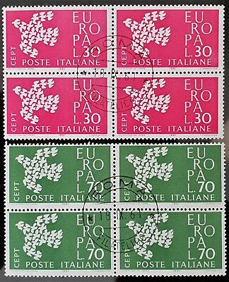Italy 1961 Sc # 845 Sc # 846 MNH CTO Blocks of 4 Europa Stamps