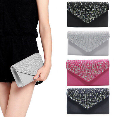3fb38f0eb6c4 Women s Glitter Shiny Envelope Clutch Bag Wedding Evening Party Handbag  Purse US