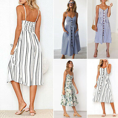 9199cee7b06 Women s Strappy Button Bowknot Lace Up Ladies Summer Beach Midi Swing Sun  Dress