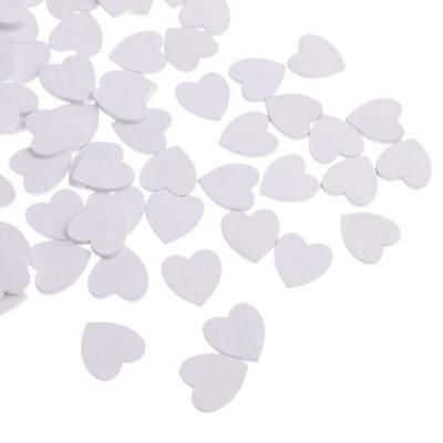 100x White Wooden Hearts Craft Embellishment Shapes Wedding Decor Table Confetti