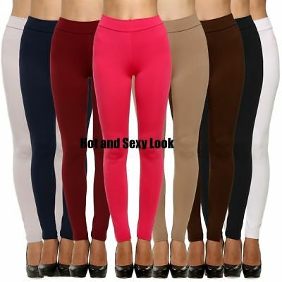 Womens thick warm full length cotton leggings UK all colours & sizes ^ CTnLg