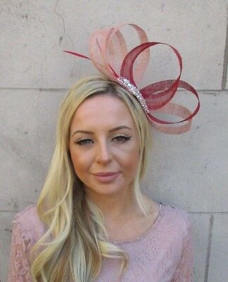 Rose Gold Red Nude Sinamay Feather Hair Fascinator Races Wedding Headpiece 5920