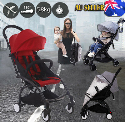 Red Lightweight Baby Toddler Stroller Travel Pram Compact Fold Carry On Plane