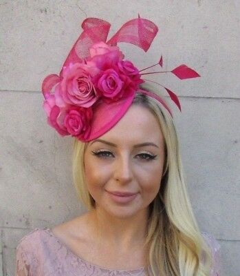 Cerise Hot Pink Sinamay Rose Flower Feather Hat Fascinator Races Hair 5922