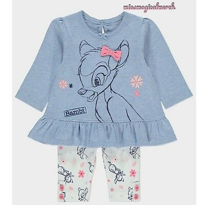 Brand New Baby Girl's Disney Bambi Bow 2 Piece Outfit Tunic & Leggings