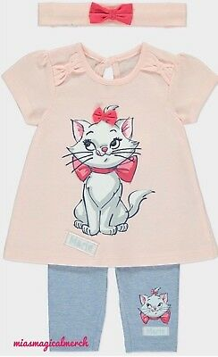 Brand New Baby Girl's Disney Aristocats Marie 3 Piece Outfit W/Bow Headband