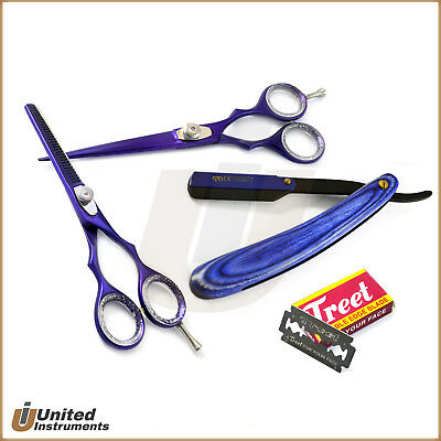 Professional Hairdressing Set Hair Cutting Thinning Scissors Blue Shaving Razor