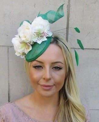 Green Ivory Cream Rose Flower Feather Hat Fascinator Races Wedding Hair 5924