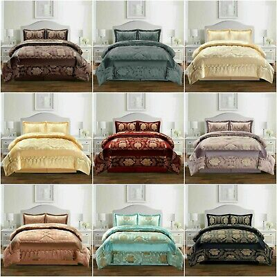 Luxury Bedspread 3 Piece Or 7 Piece Jacquard Quilted Comforter Set Double King