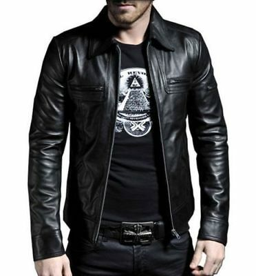 Men's Genuine Leather Motorcycle Jacket Slim Fit Biker Jacket