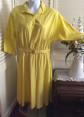 548fb35005 VTG 80S VICKI Wayne Yellow Belted Shirt Dress 26 1 2 -  48.00