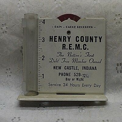 Vintage RAIN GAUGE advertising HENRY CO REMC NEW CASTLE INDIANA ELECTRIC COMPANY