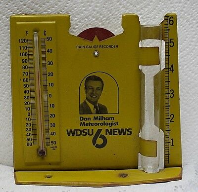 Vintage RAIN GAUGE  THERMOMETER advertising METEOROLOGIST WDSU NEWS 6 DAN MILHAM
