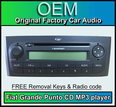 Fiat Grande Punto CD MP3 player, Fiat car stereo, radio code, removal keys BLACK