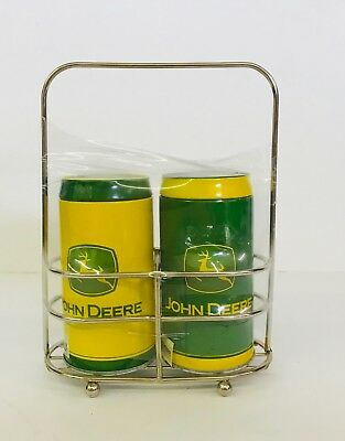 John Deere Logo Official Vintage Metal Tin Salt and Pepper Shakers And Caddy