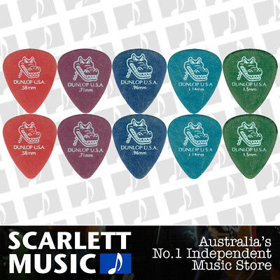 10 X Jim Dunlop Gator Grip 417R MIXED Guitar Picks Starter Set / Beginner