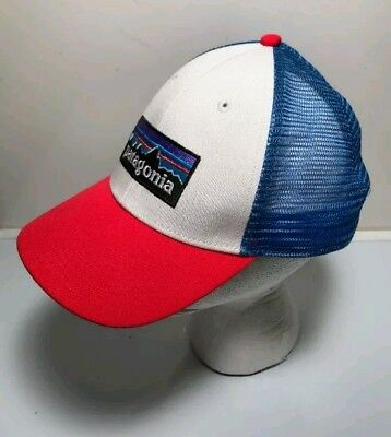 PATAGONIA P6 LOGO Trucker Hat Mid Crown One Size Snap Adjustable Red ... a97546119e08