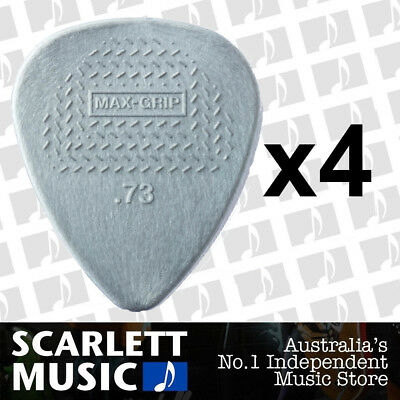 4 X Jim Dunlop Max Grip Nylon 0.73mm .73 Gauge Grey Guitar Picks *FOUR PICKS*